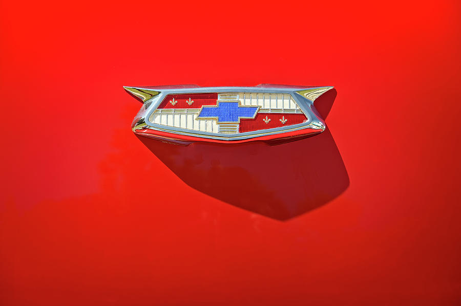 Vehicle Photograph - Chevrolet Emblem on a 55 Chevy Trunk by Scott Norris