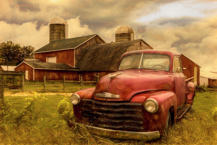 1940s Photograph - Chevrolet In The Countryside Oil Painting by Debra and Dave Vanderlaan