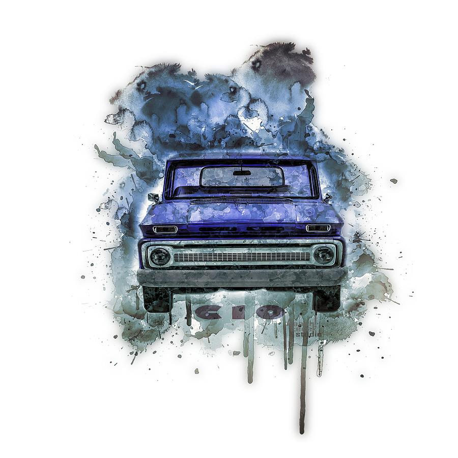 Chevrolet C10 Painting - Chevy C10 Splash Art by Aaaah Eeeek Studio