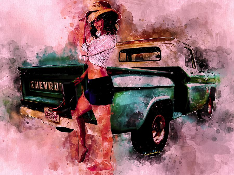 Chevy Pickup and the CowGirl what Drives Her by Chas Sinklier