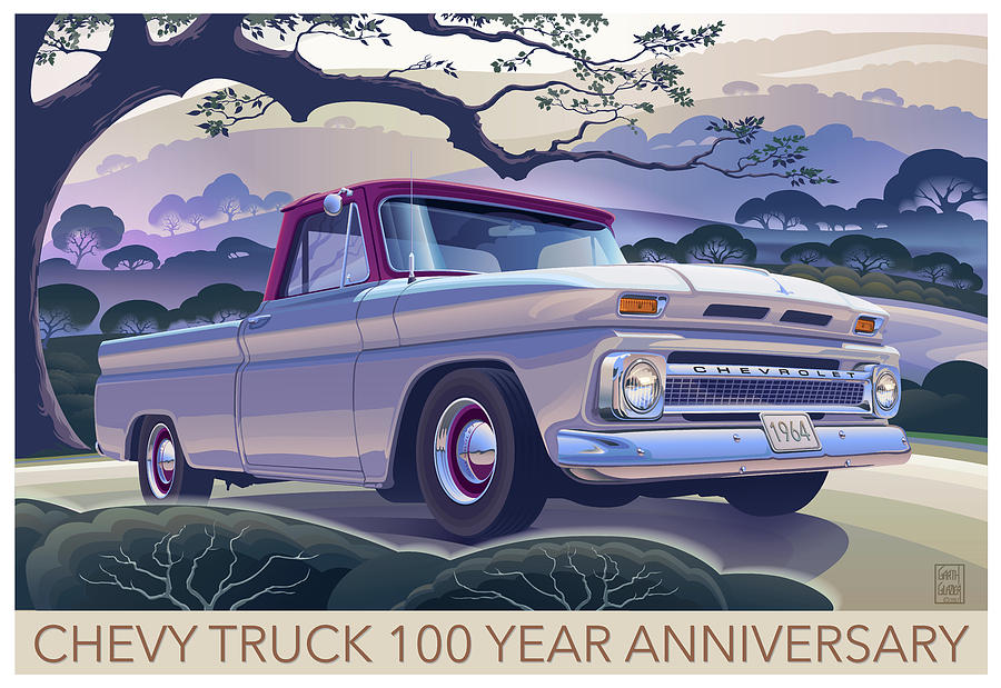 Morning Mist Digital Art - Chevy Truck Centennial 1964 Shortbed Custom Half Ton by Garth Glazier