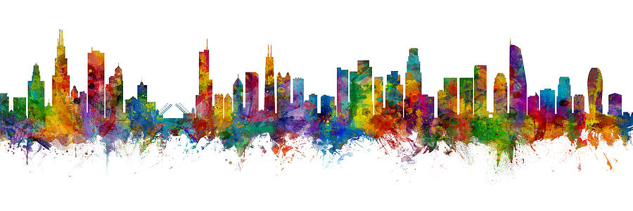 Chicago Digital Art - Chicago And Los Angeles Skylines Mashup by Michael Tompsett