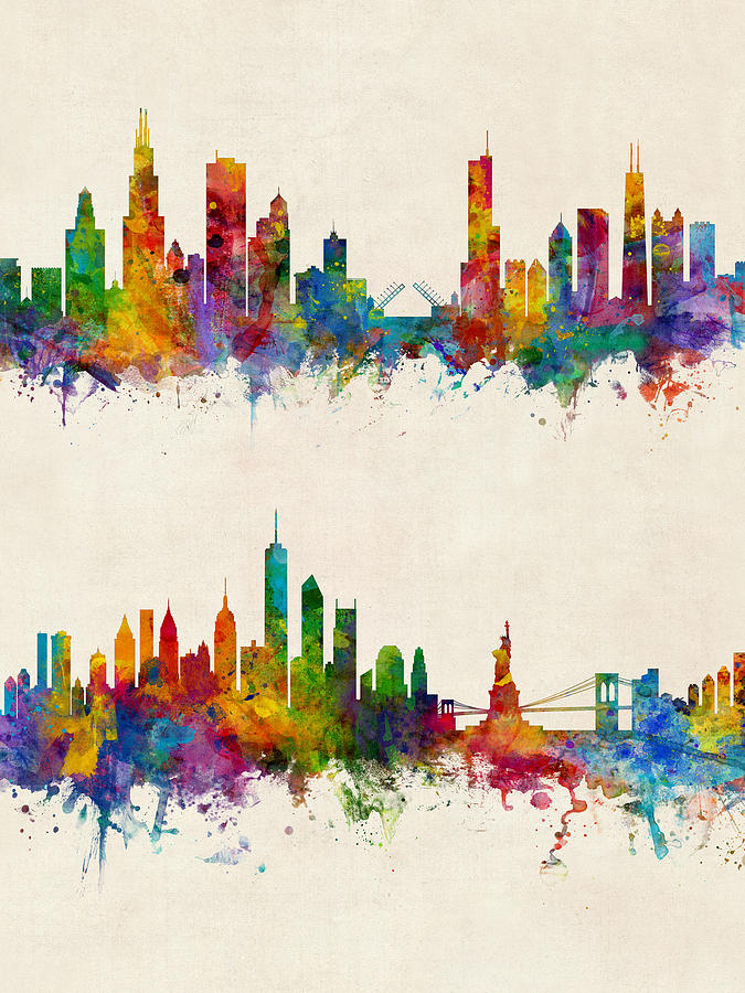 Chicago And New York City Skylines Digital Art By Michael Tompsett