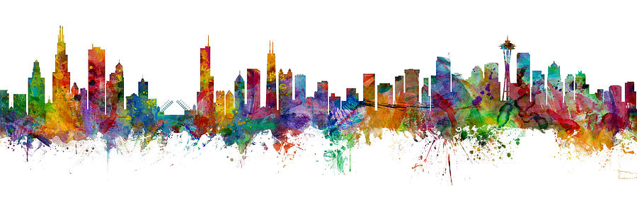 Chicago and Seattle Skylines Mashup by Michael Tompsett