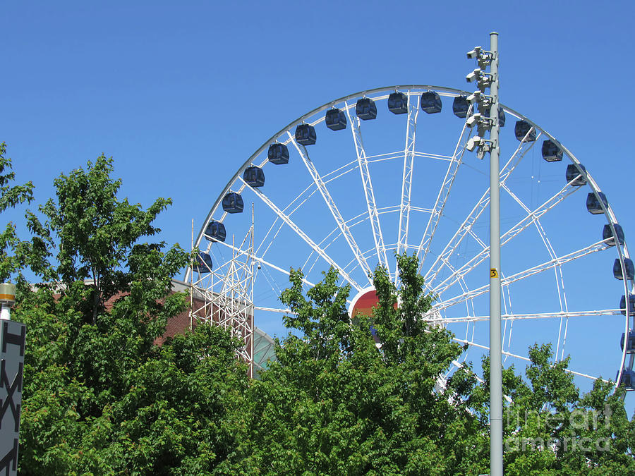Chicago and the Ferris Wheel at Navy Pier by Roberta Byram