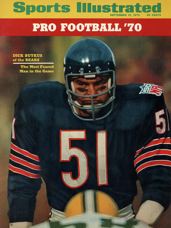 American Football Photograph - Chicago Bears Dick Butkus, 1970 Nfl Football Preview Issue Sports Illustrated Cover by Sports Illustrated