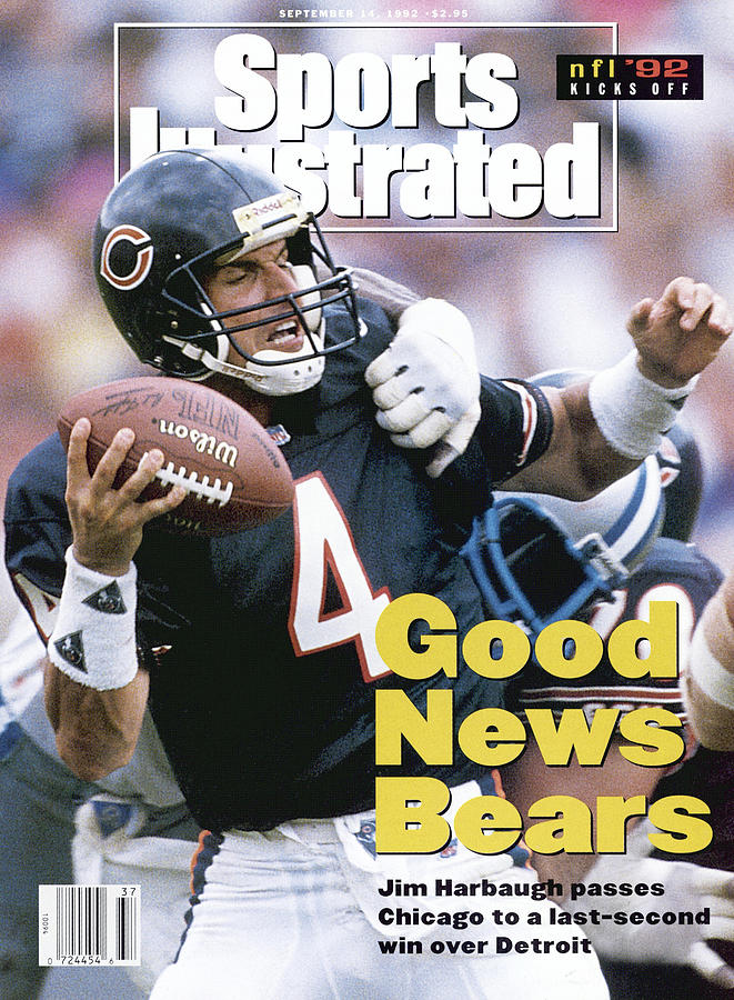 Chicago Bears Qb Jim Harbaugh... Sports Illustrated Cover Photograph by Sports Illustrated