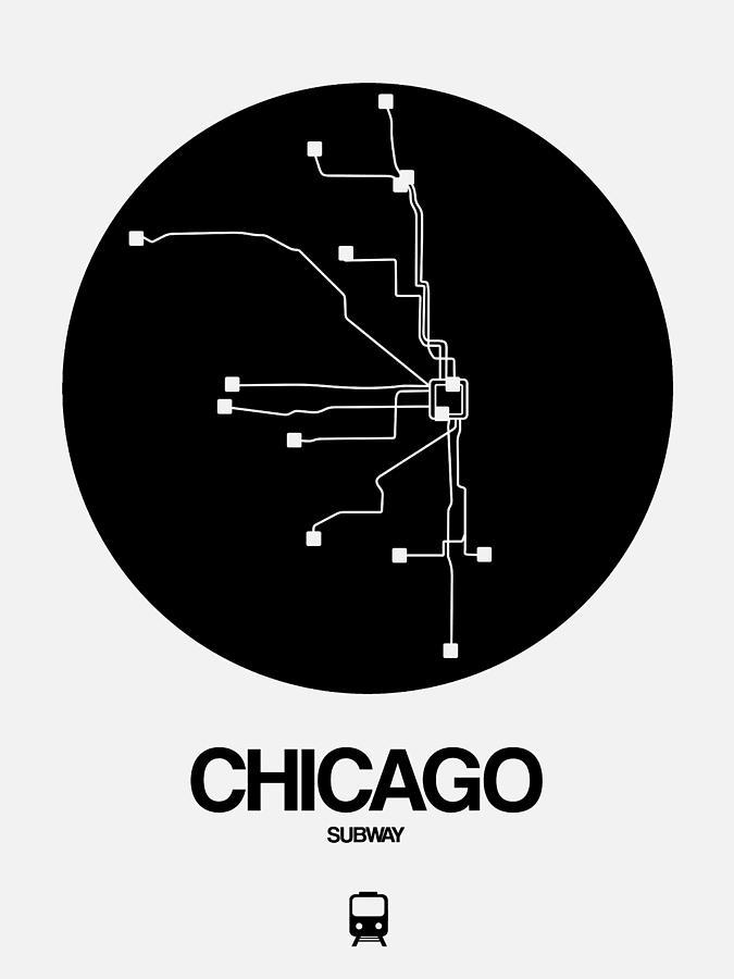 Chicago Subway Subway Map.Chicago Black Subway Map By Naxart Studio