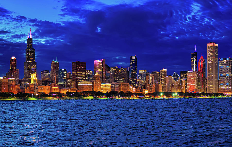 Chicago Blue Hour Skyline by Mitchell R Grosky