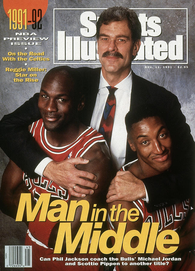 Chicago Bulls Coach Phil Jackson, Michael Jordan, And Sports Illustrated Cover Photograph by Sports Illustrated