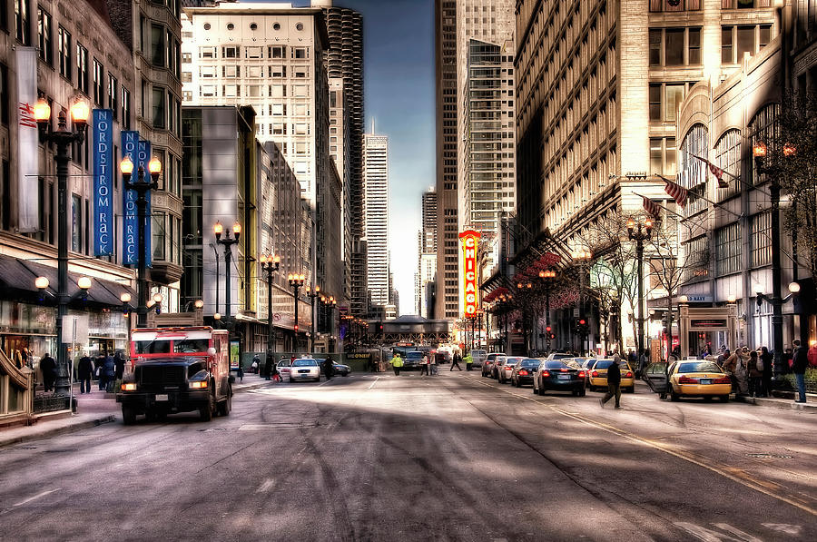 Chicago City Center At State Street Photograph by Paul Biris