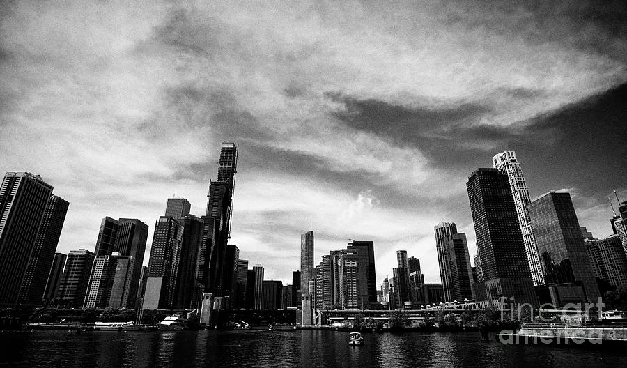 Chicago Photograph - Chicago City Skyline As Lake Michigan Meets The Chicago River Streeterville Chicago Illinois United  by Joe Fox