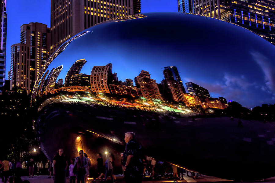 Chicago Cloud Gate At Blue Hour by Wes Iversen