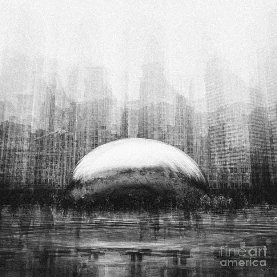 Cloud gate with chicago skyline after a rain in multiple exposure in black and white photography by aeon art