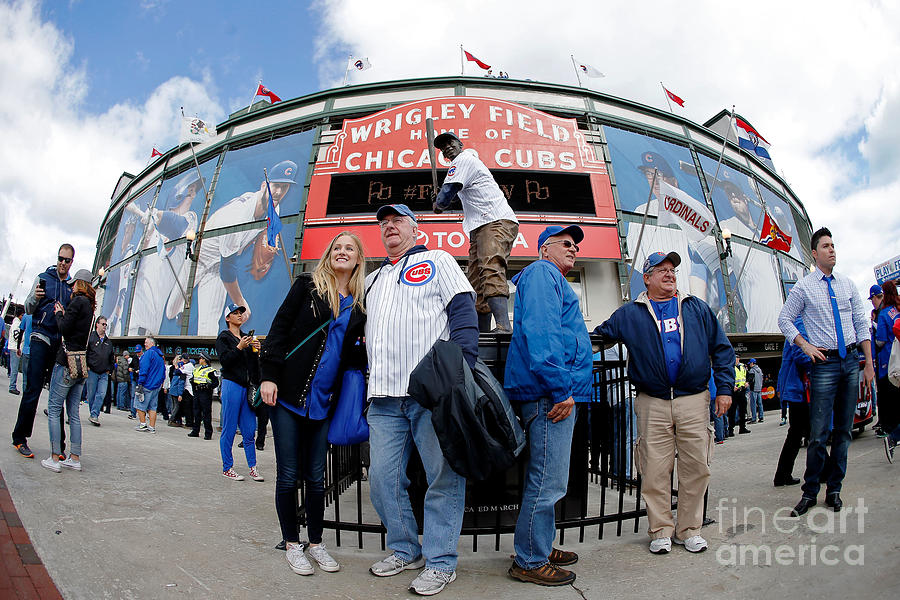 Chicago Cubs Fans Watch Game Four In Photograph by Jon Durr