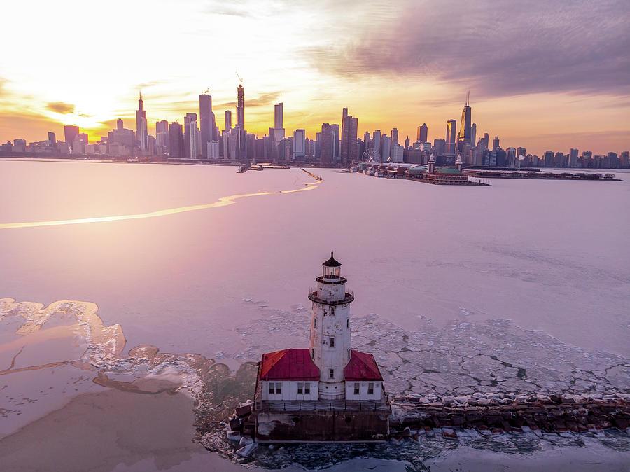 Chicago Harbor Lighthouse Sunset by Bobby King