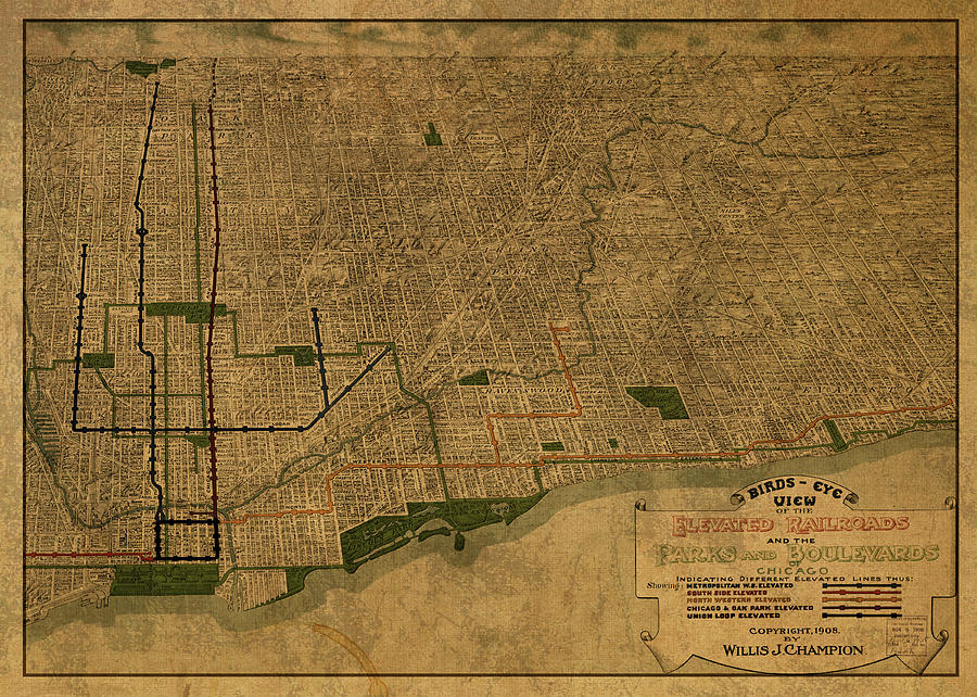 Chicago Mixed Media - Chicago Illinois Birds Eye View Vintage City Street Map 1907 by Design Turnpike