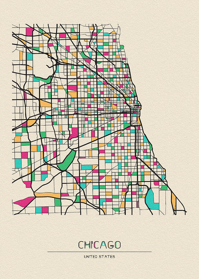 Chicago, Illinois City Map by Inspirowl Design