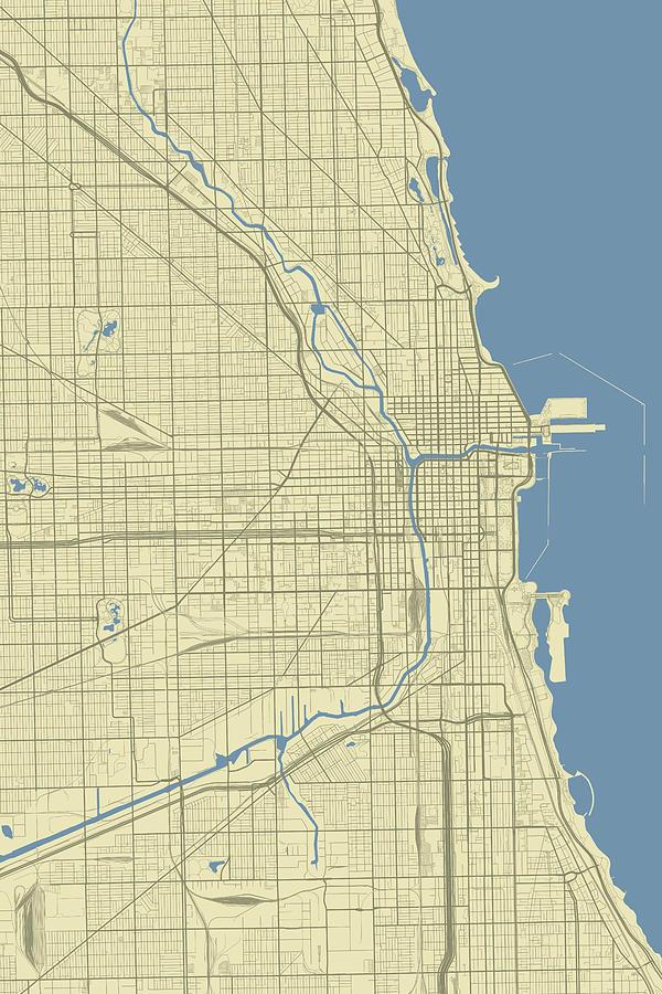 Chicago Illinois Usa Classic Map Digital Art by Jurq Studio