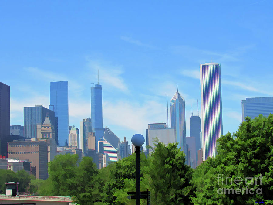 Chicago in Blue and Green by Roberta Byram
