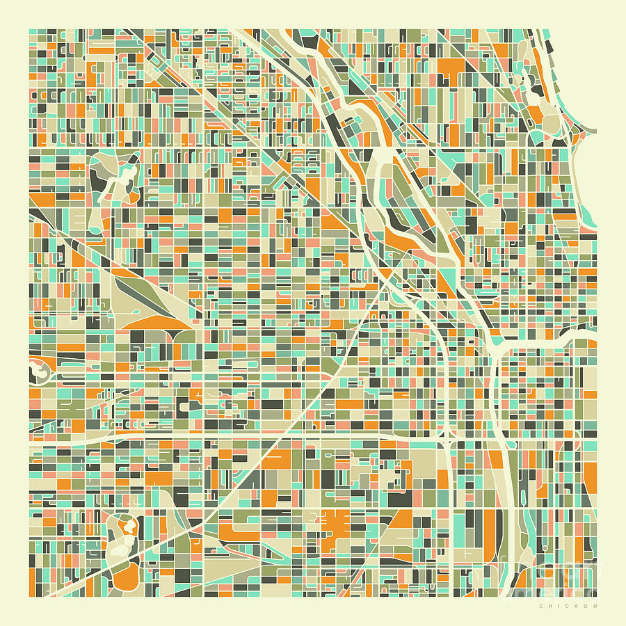 Chicago Digital Art - Chicago Map 1 by Jazzberry Blue