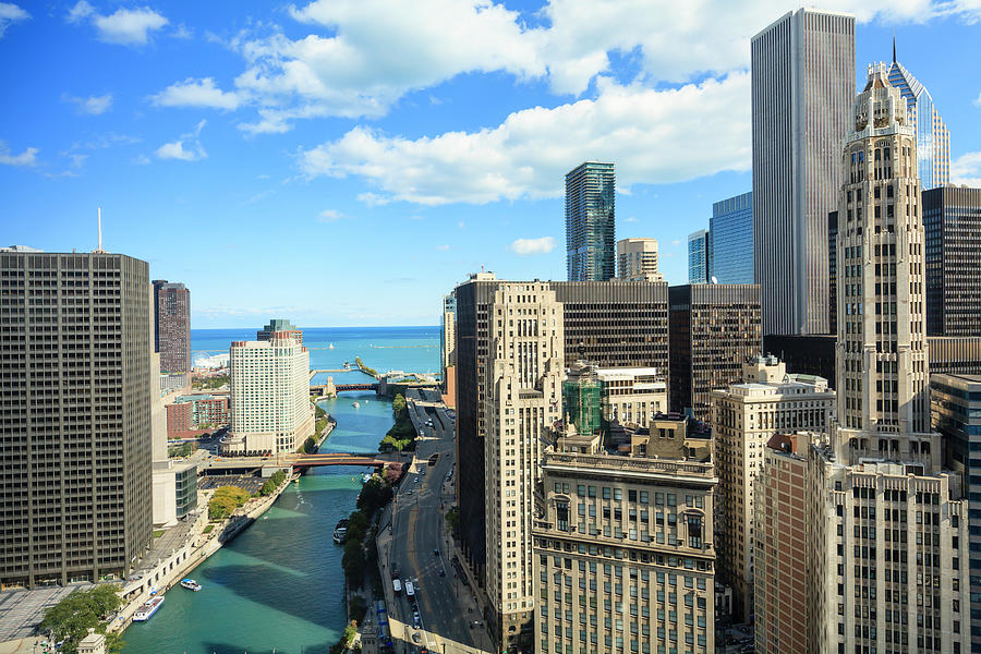 Lake Michigan Photograph - Chicago River And Lake Michigan by Fraser Hall