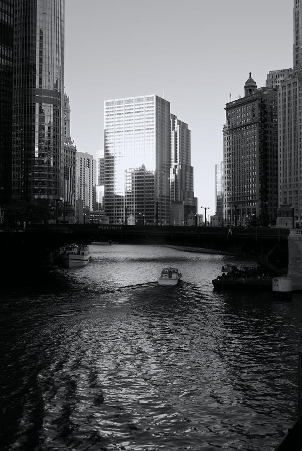 Chicago River Sunset Reflection Wake Photograph by Igermz