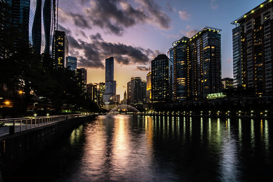 Chicago Riverwalk and fountain at dusk  by Sven Brogren