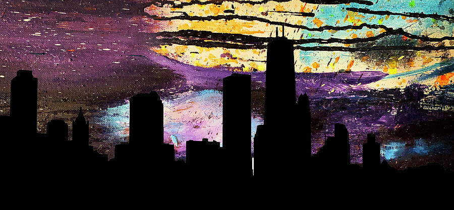 Chicago Skyline Abstract by Marilyn Hunt