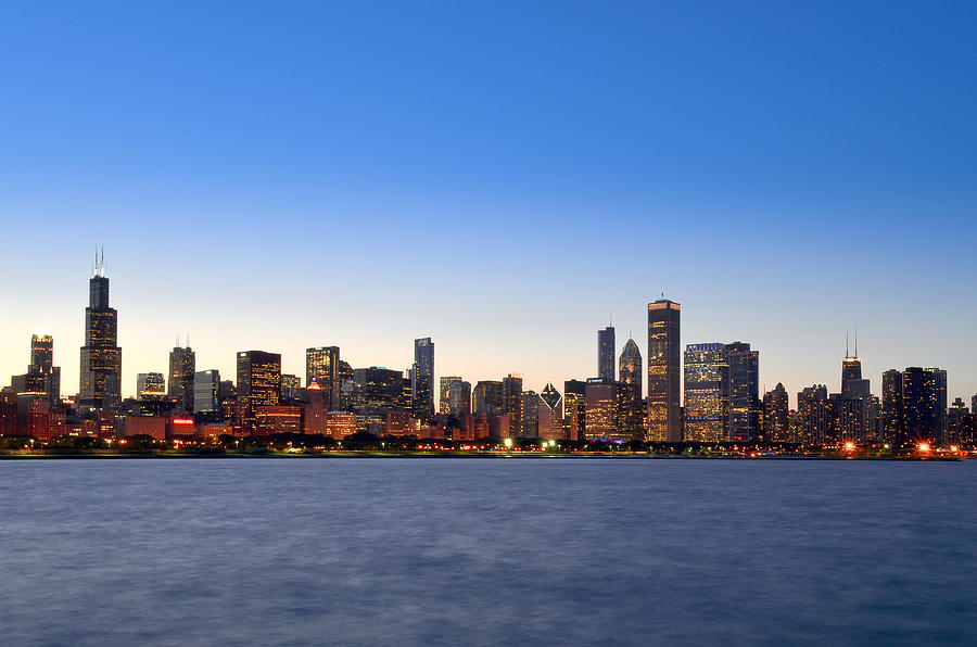 Chicago Skyline And Lake Michigan By Sir Francis Canker Photography