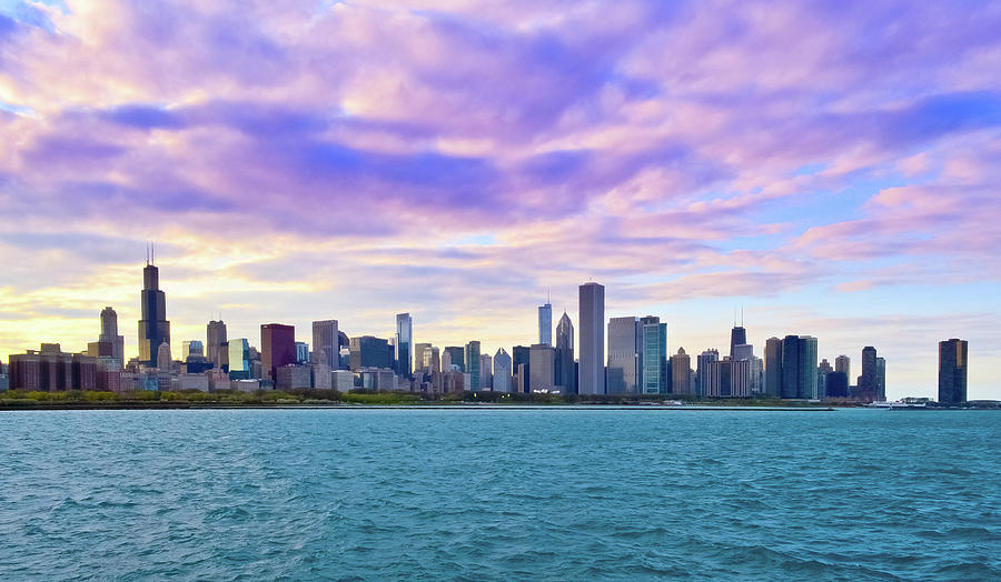 Chicago Skyline At Sunset With Dramatic Photograph by Sir Francis Canker Photography