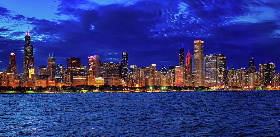 Chicago Skyline at the Blue Hour by Mitchell R Grosky
