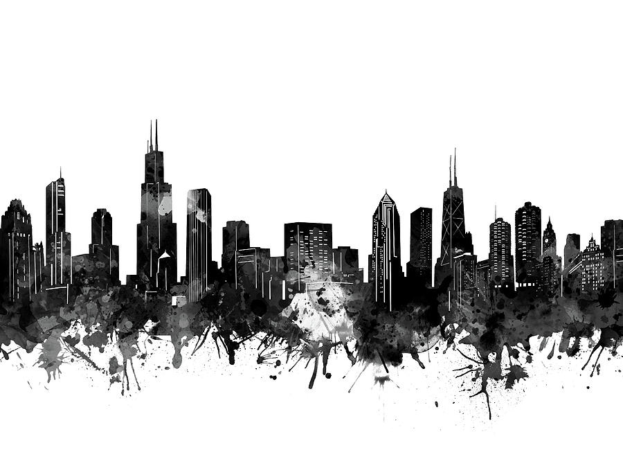 Chicago Skyline Black And White Photograph