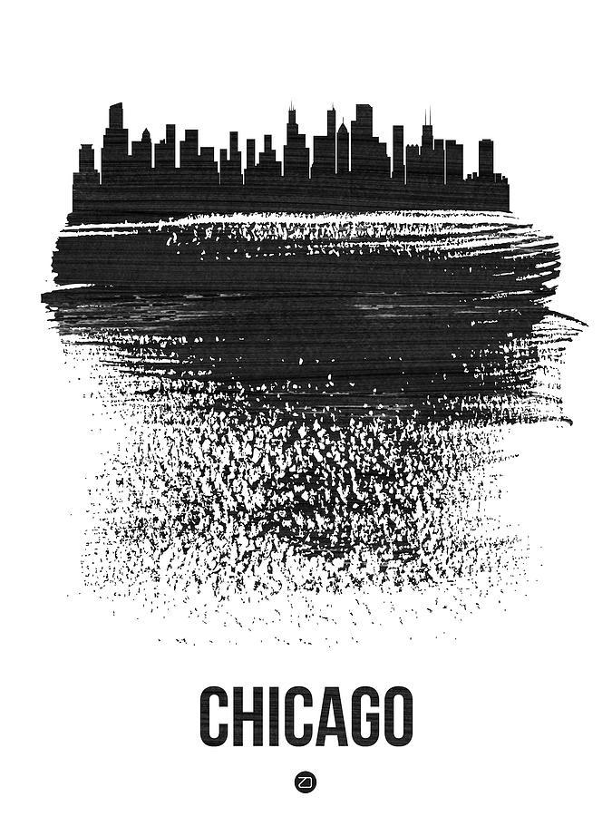 Chicago Mixed Media - Chicago Skyline Brush Stroke Black by Naxart Studio