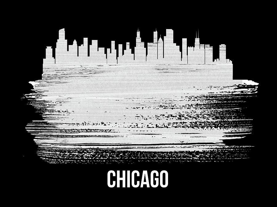 Chicago Mixed Media - Chicago Skyline Brush Stroke White by Naxart Studio