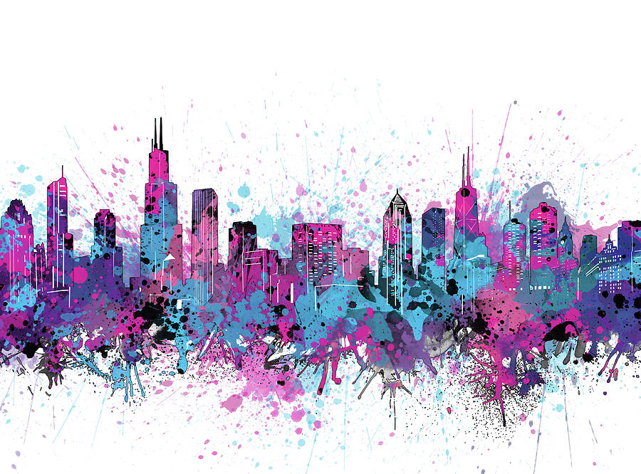 Chicago Skyline Color Splatter Digital Art