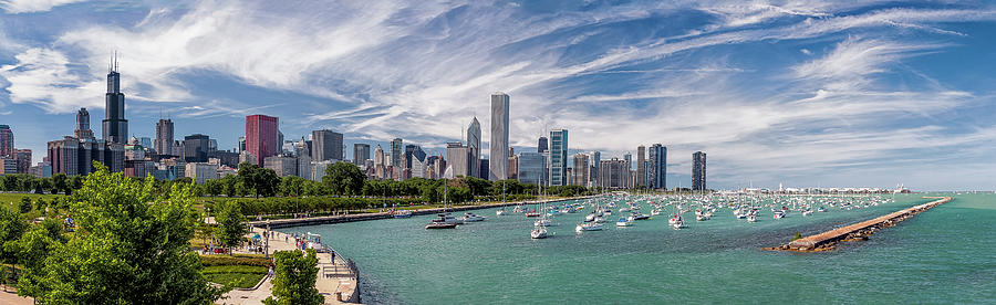 3scape Photograph - Chicago Skyline Daytime Panoramic by Adam Romanowicz
