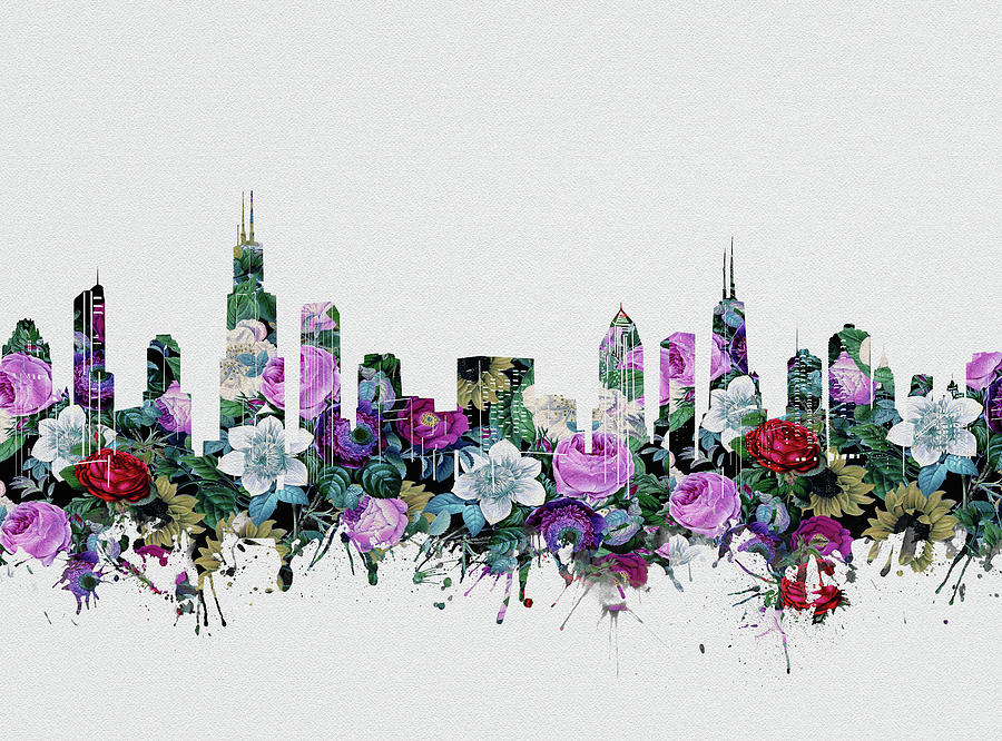 Chicago Skyline Floral Digital Art