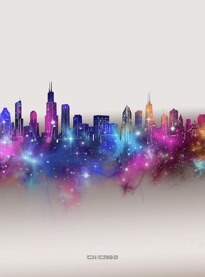 Chicago Digital Art - Chicago Skyline Galaxy by Bekim M