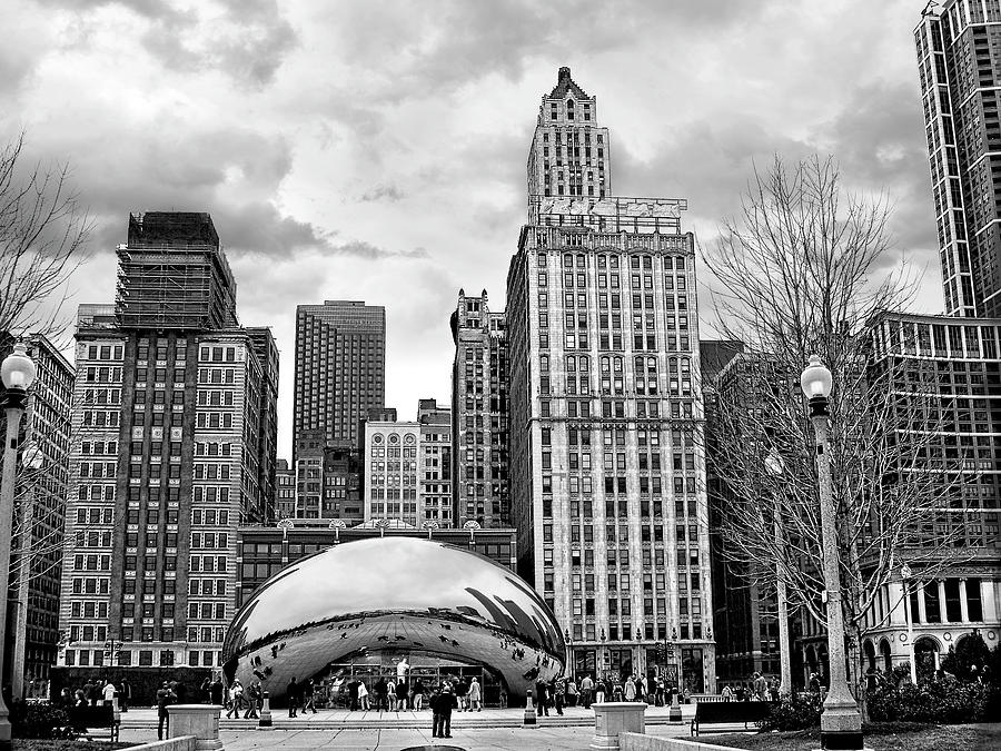 Chicago Photograph - Chicago Skyline In Black And White by Tammy Wetzel