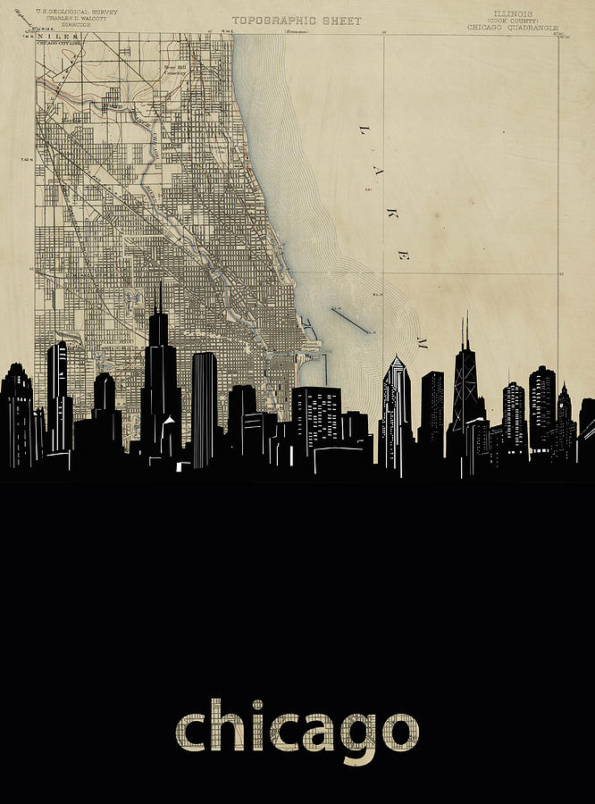 Chicago Skyline Map Digital Art