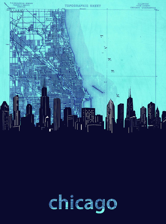 Chicago Skyline Map Blue 2 Photograph