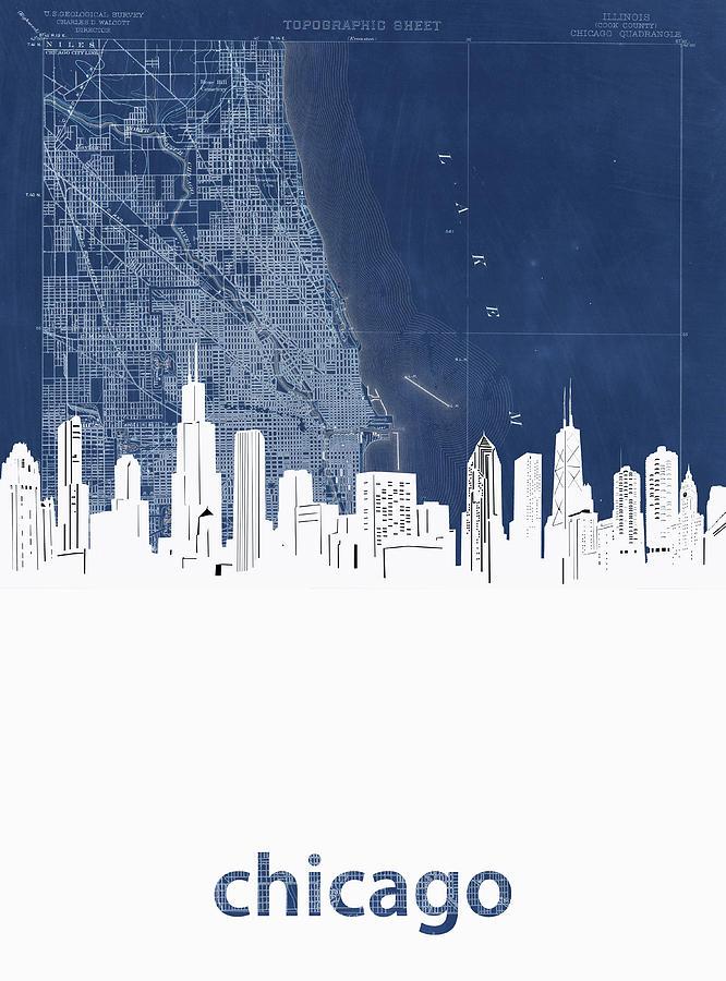 Chicago Skyline Map Blue Digital Art