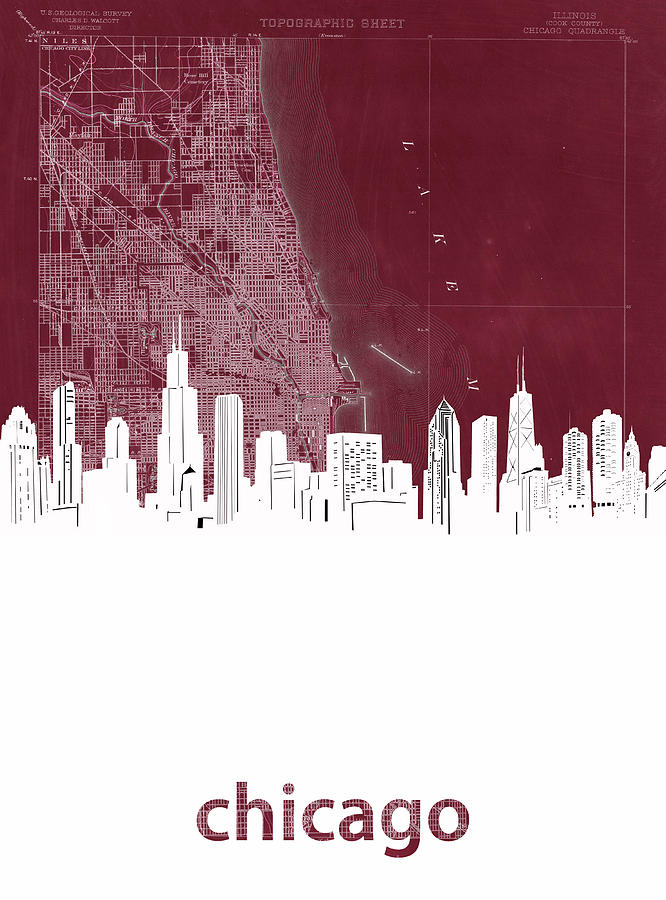 Chicago Skyline Map Red Digital Art