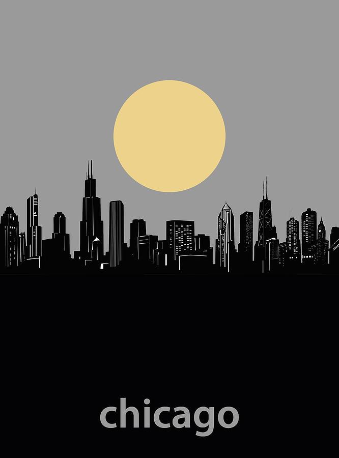 Chicago Skyline Minimalism 2 Digital Art