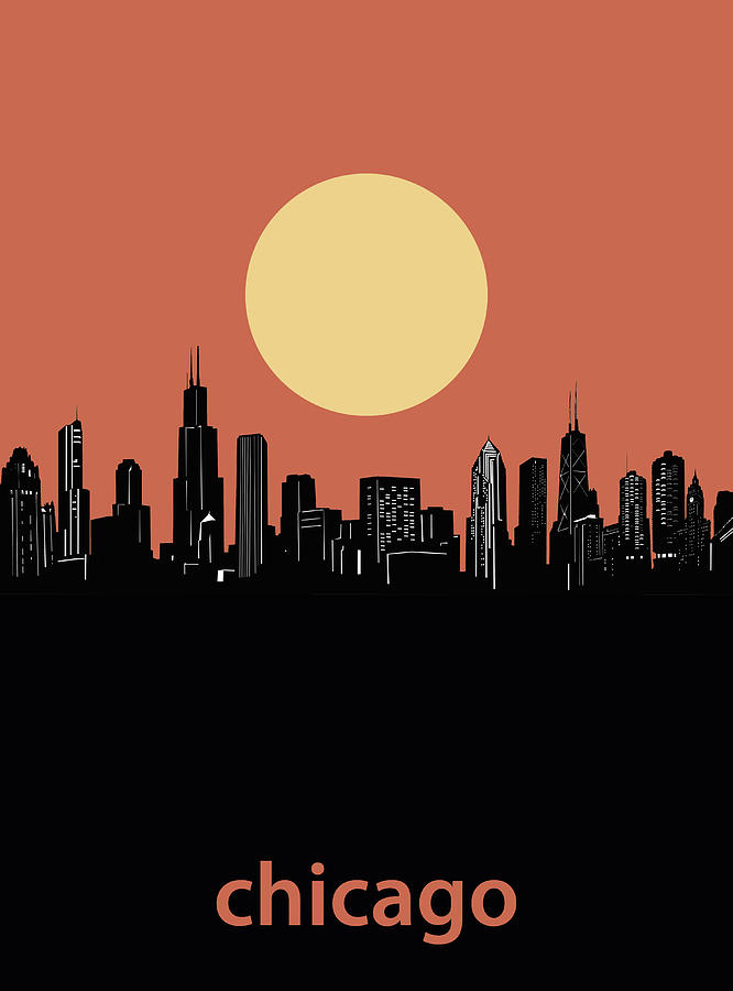 Chicago Skyline Minimalism 4 Digital Art