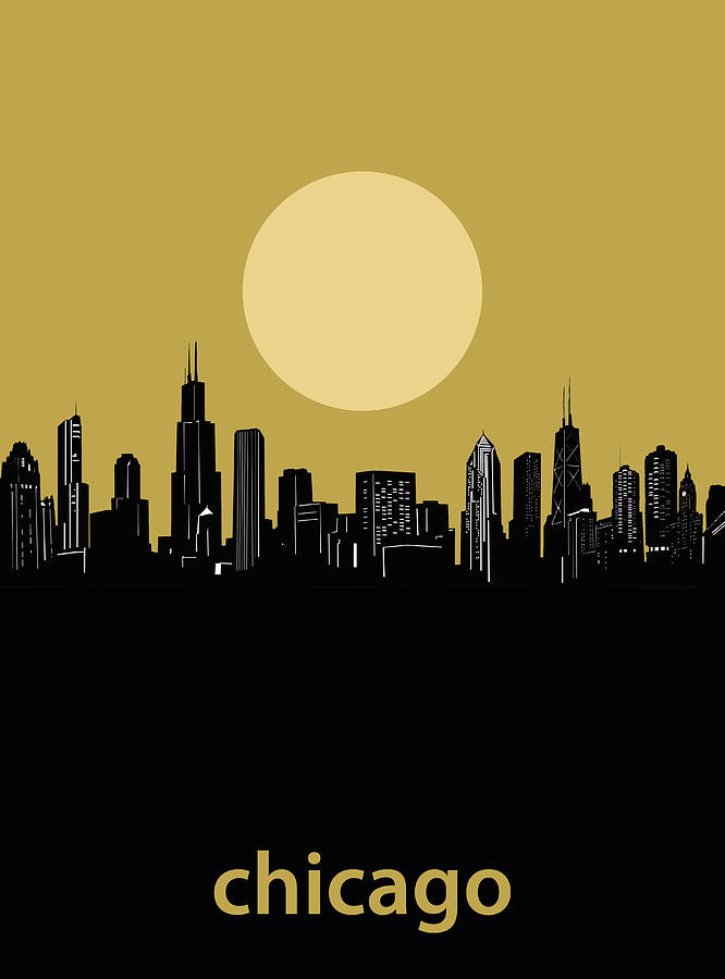Chicago Skyline Minimalism 5 Digital Art