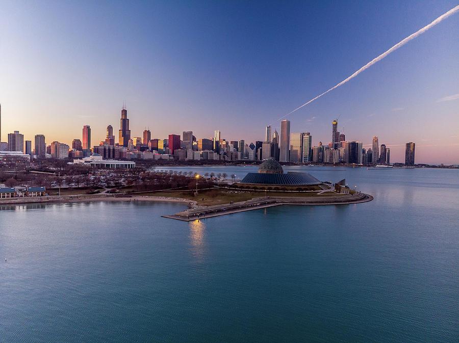 Chicago Skyline over Planetarium by Bobby King