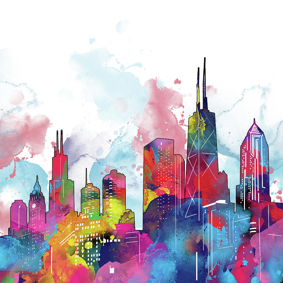 Chicago Skyline Panorama Watercolor 2 Digital Art