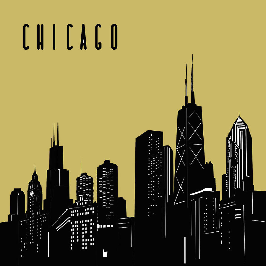 Chicago Skyline Panorama Yellow Digital Art